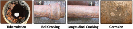 Tuberculation, Bell Cracking, Longitudinal Cracking, Corrosion