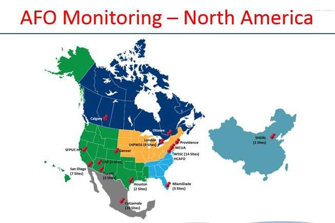 Map of pipeline operators across North America and Asia using AFO technology.