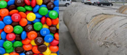Colored candies and broken pipe