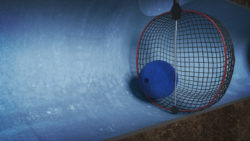 SmartBall inside a pipe with a net
